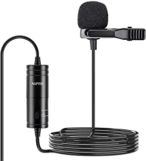 Lavalier Microphone، AGPTEK (236 اینچ) کلیپ در کندانسور Omnidirectional Lavalier Lapel Mic برای دوربین ، DSLR ، iPhone ، Android ، PC ، مصاحبه ، کنفرانس ویدیویی ، پادکست ، ضبط