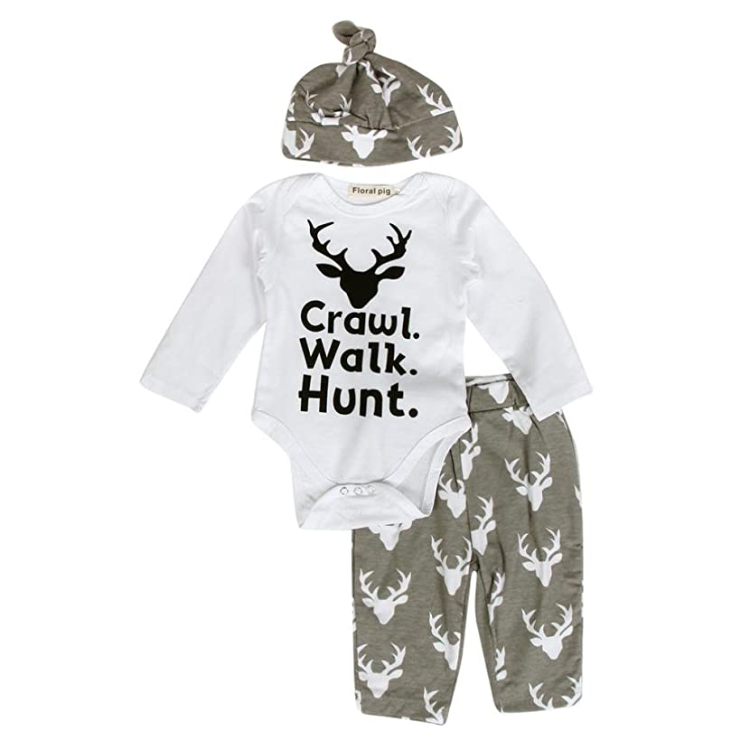 Fheaven Newborn Infant Baby Outfit Clothes Print Romper Tops+Long Pants +Hat