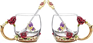 COAWG Glass Tea Cup with Spoon[2-Pack], Enamel Lead Free Handmade Rose Flower and Butterfly Clear Glass Coffee Mugs Glass Cup, Unique Christmas Birthday Gift Ideas for Women Mom Grandma(Red-11oz)