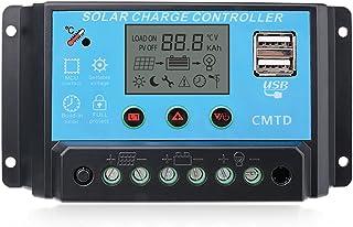 Sunix 20A 12V/24V Solar Charge Controller Charge Regulator Intelligent, USB Port Display Overload Protection Temperature Compensation
