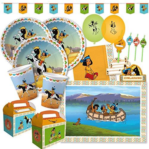 DH-Konzept 69-teiliges Party-Set - Indianer Yakari - Teller Becher Servietten Platzsets Wimpelkette Einladungen Trinkhalme Luftballons Partyboxen für 6 - 8 Kinder