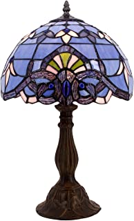 Tiffany Lamp W12H18 Inch Blue Purple Baroque Style Stained Glass Lavender Lampshade Lighting Antique Base for Living Room Bedroom Bedside Desk Table Lamp S003C WERFACTORY