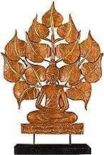 PPCP Thai Wood Carving Linden Miniature Sitting Zen Buddha Statue Indoor Home Decoration Outdoor Garden Decoration Statue ...