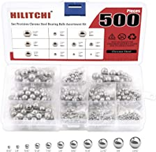 "Hilitchi 500 Pcs 11 Size SAE Precision Bearing Steel Ball Assortment Loose Bicycle Bearing Balls 3/32"" 1/8"