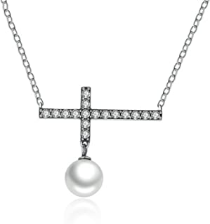 CS-DB Jewelry Silver Luminous Love Letter Pearl Chain Charm Pendants Necklaces