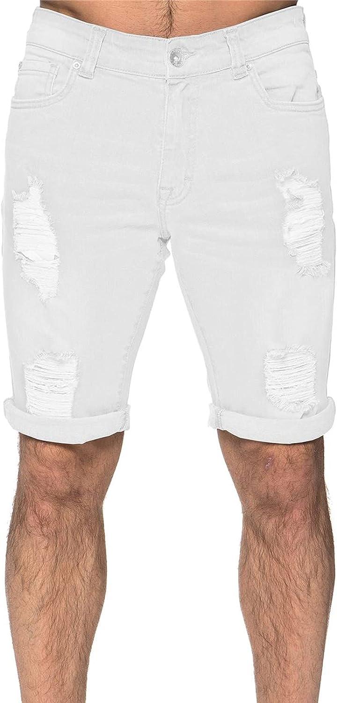 PHSHY Mens Ripped Short Jeans Fashion Elastic Waist Button Down Moto Biker Work Trousers Casual Classic Denim Pants