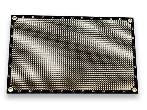 Premium Lochrasterplatine | Lochrasterplatte | Leiterplatte | Euro-Platine | PCB | Doppelseitig mit runden Pads | 160 x 100 mm | Matt-Schwarz | 2,54 mm Rastermaß