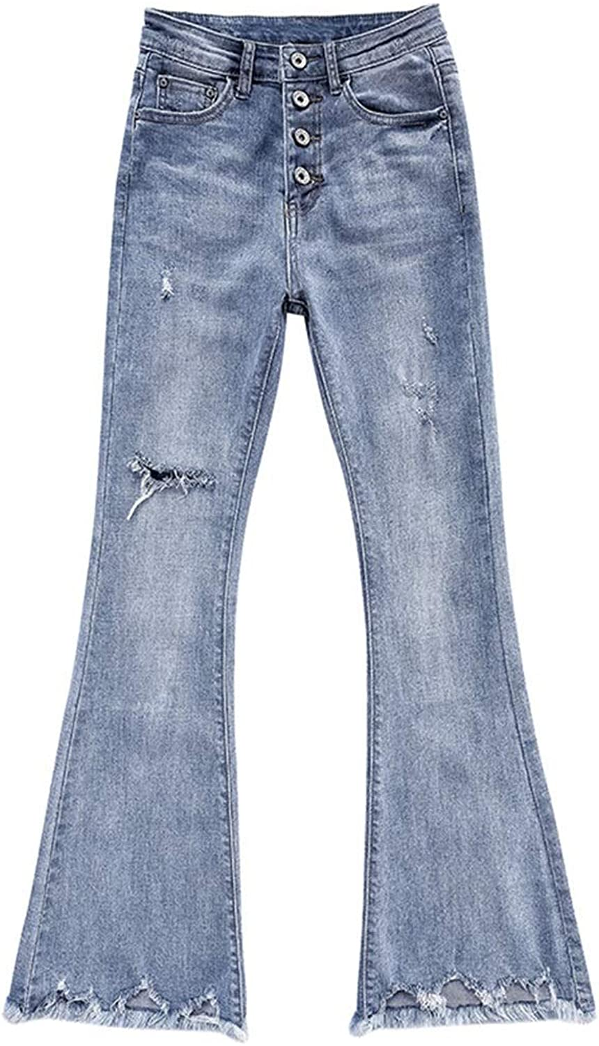 BootCut Jeans Female Burr Hole was Thin Waist was Thin Straight Flared Trousers Nine Points Pantyhose Tide was Thin Elastic Pants Long 9496cm (color   bluee, Size   28)
