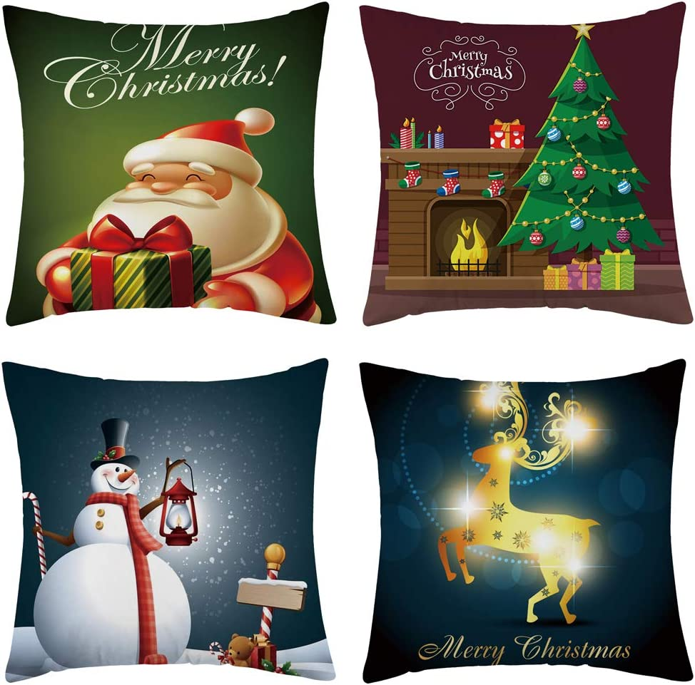 WFLOSUNVE Set of 4 Merry Christmas Cover Flan Safety and trust Throw Soft supreme Pillow