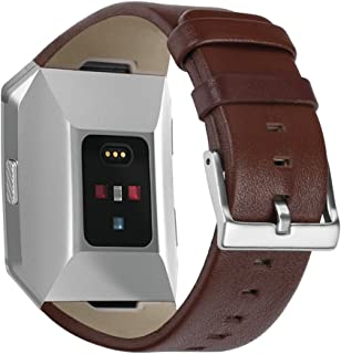 EloBeth Compatible Fitbit Ionic Band, Leather Band Bracelet Replacement Wrist Watch Band for Fitbit Ionic Watch (Brown)
