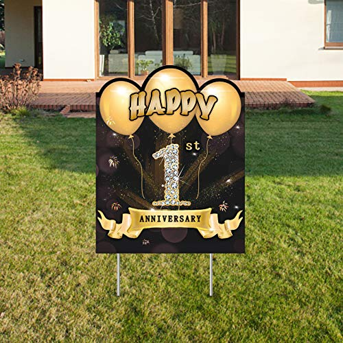 Yoaokiy 1 Year Anniversary Yard Signs Decorations, Happy 1st Wedding Anniversary Party Yard Sign Supplies with Stakes, Gold One Year Anniversary Party Lawn Signs Décor