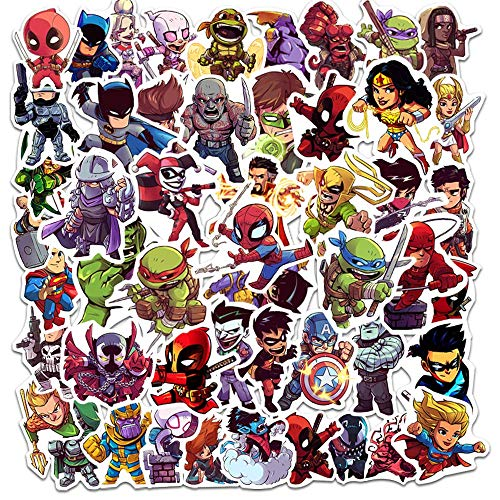 YZFCL Marvel Anime Superhero Sticker Helmet Skateboard Suitcase Notebook Guitar Water Cup Sticker 50pcs
