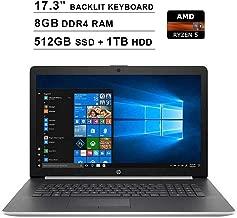 2019 Newest HP Pavilion 17.3 Inch Touchscreen Laptop (AMD 4-Cores Ryzen 5 3500U up to 3.7 GHz, AMD Radeon Vega 8, 8GB DDR4 RAM, 512GB SSD (Boot) + 1TB HDD, Backlit KB, DVDRW, WiFi, HDMI, Windows 10)