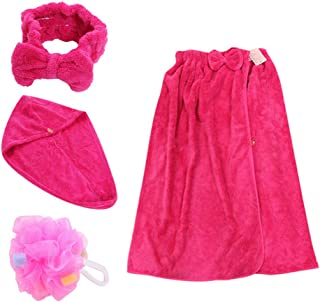 TOPBATHY 1Set Hair Towel Wrap Bath Towel Headband Bath Flower Kit Coral Fleece Absorbent Bath Skirt Hair Drying Cap Shower Towel for Bathroom SPA Hotel (Rose Red)