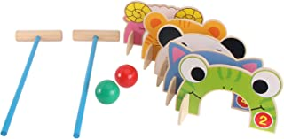 Generic Wood Mallets Wooden Croquet 2 Player Croquet Set with 2 Balls and Cartoon Wickets for Adults Kids Lawn Backyard Pa...