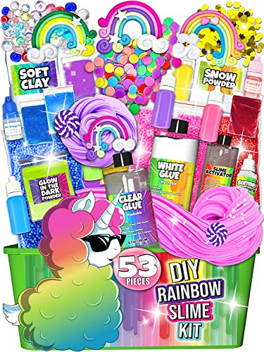 Laevo Unicorn Slime Kit for Girls - Slime DIY Supplies Slime Kits - Slime Making Kit Cloud Slime Kit for Boys - DIY Slime Kit with Instant Snow, Clear Glue, Foam Balls, Slime Glue 3