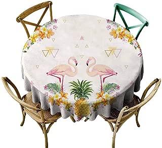 W Machine Sky Outdoor Picnics Flamingo,Geometrical Pineapples and Flamingos Tropical Summer Fruit Pool Party,Orange Green Pale Pink Diameter 60