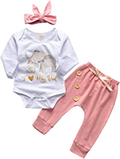 YOUNGER TREE 3Pcs Toddler Infant Baby Girls Winter Fall Clothes Cartoon Elephant Romper+Pink Pants+Headband