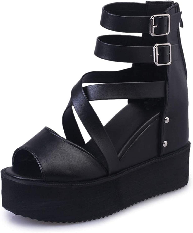Wedges Platform Sandals Female Peep Toe High Heels Gladiator Buckle Summer Sandals shoes