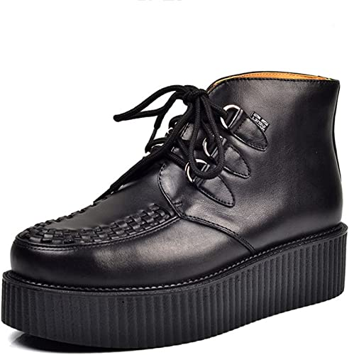 RoseG Homme Cuir Lacets Plateaforme Punk High Top Creeper Bottes