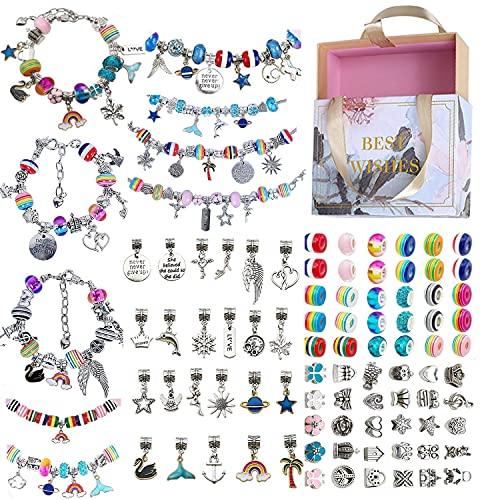 Queta Kit para Hacer Pulseras Niñas, 5pcs Pulseras de Plata , Kit de fabricación de Joyas para niña, Regalo de Año Nuevo Cumpleaños Navidad para Niñas de 5-17 Años, Kits para hacer bisutería (90pcs)
