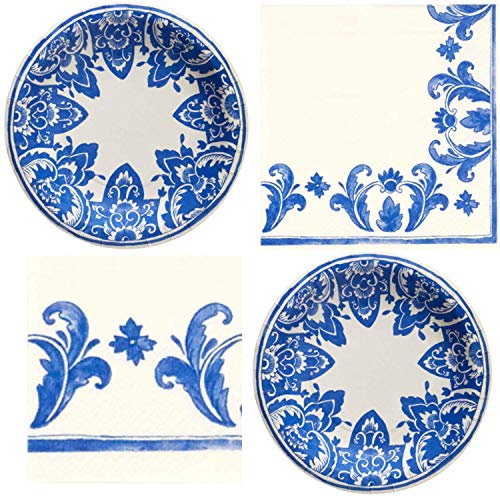 Molly Hatch Blue China Blue Pattern Plates & Napkins Set Elegant Floral Style 16 count