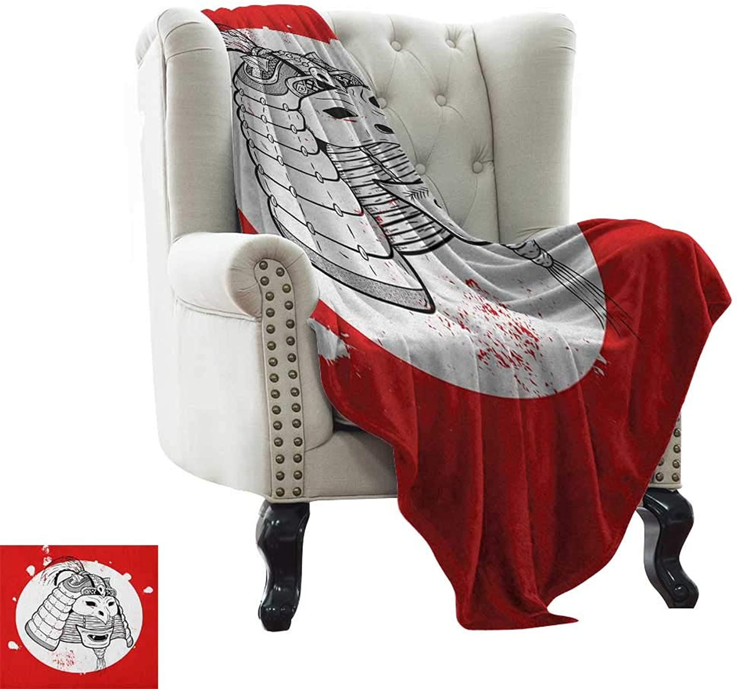 LsWOW Weighted Blanket for Kids Kabuki Mask,Asian Ethnic Mask Design with Grunge Stained Look Ronin Fighter Face, Red White and Black Reversible Soft Fabric for Couch Sofa Easy Care 50 x60