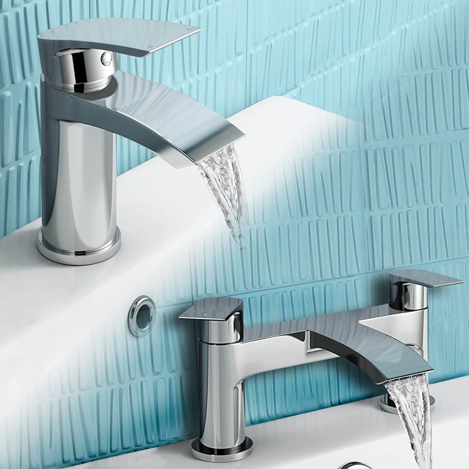 IBathUK   Chrome Basin Sink Mixer Tap + Bath Filler Bathroom Faucet Set TP456