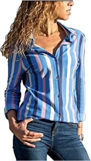 neveraway Women's Button Down V Neck Lounge Long Sleeve Striped Printed Shirt