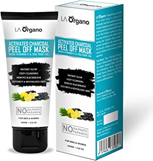 LA Organo Activated Charcoal Peel Off Mask with Vitamin C, Tea Tree Oil For Deep Cleansing of Skin For Men & Women, 100g