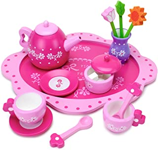 Imagination Generation Pink Blossoms Tea Time Set for Two – Wood Eats! Tea Party Playset with Tea Cups, Kettles, Saucers, Spoons, Flowers, & Floral Tray – Play Food Accessories (16pcs.)