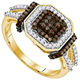 Size - 9.5 - Solid 10k Yellow Gold Round Chocolate Brown and White Diamond Engagement Ring OR Fashion Band Channel Set Square Shape Solitaire Shaped Halo Ring (1/2 cttw)