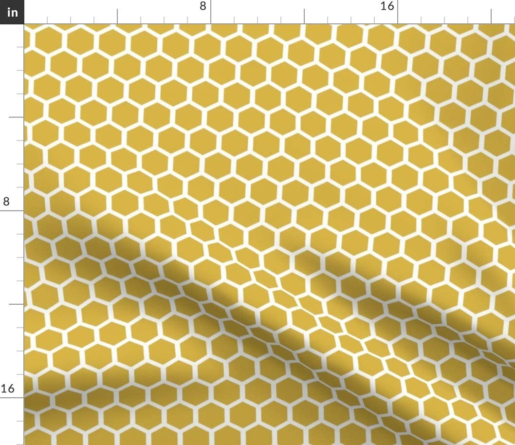 Spoonflower Fabric - Golden Honeycomb Gold Mustard Bee At the price Geometric 5 ☆ popular