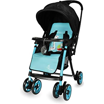 R for Rabbit Poppins Plus Stroller & Pram with Mosquito Net and Hanging Toy Baby Stroller and Pram for Baby|Kids|Infants|New Born|Boys|Girls of 0 to 3 Years (Blue Black)