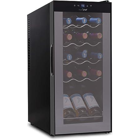 15 Bottle Wine Cooler Refrigerator - White & Red Wine Fridge Chiller Countertop Wine Cooler - Freestanding Compact Mini Wine Fridge 15 Bottle Capacity, Digital Control, Glass Door - NutriChef PKCWC150