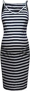 Dress Cimaybeauty !! Women's Maternity Sleeveless Striped Print Breastfeeding Sundress Pregnancy Dress