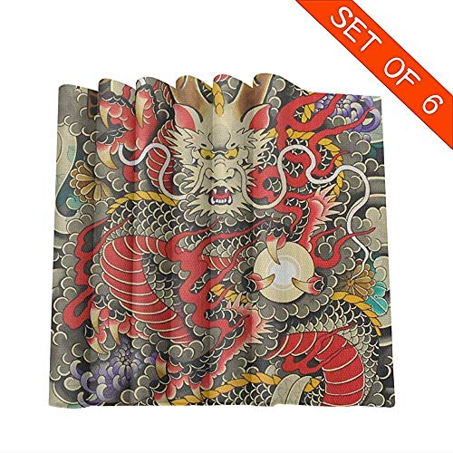 Set de table set de 6 sets de table rouges chinois traditionnels Dragon Ball Art pour table à manger, tapis de table lavables, 45 x 30 cm