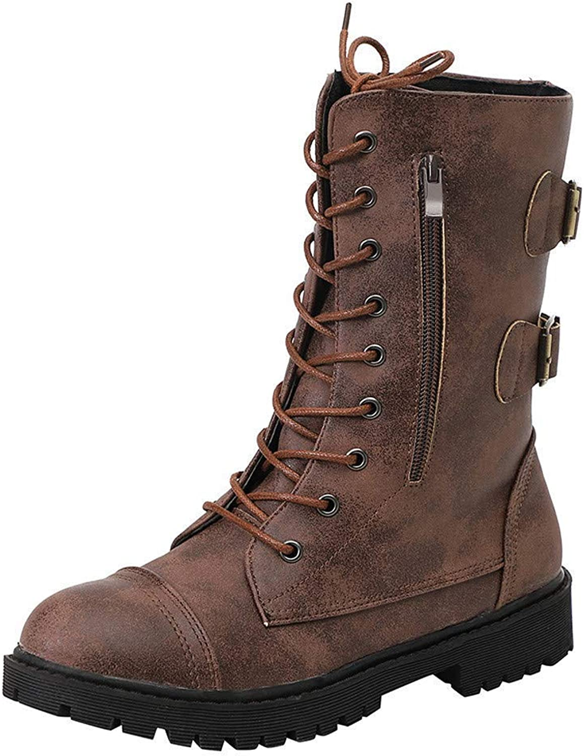 SUNNY Store Women's Mango-71 Faux Leather Military Style Ankle Boots Thick Sole Buckles