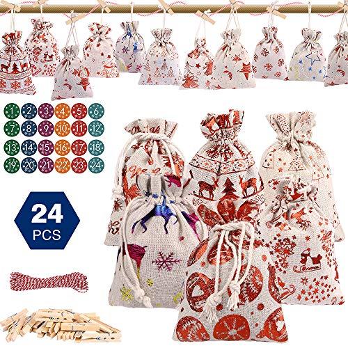 Calendario de Adviento, Set de 24 Bolsas de Yute para Rellenar, con Calendario de Adviento Casero, Bolsas Pequeñas Navidad, Bolsa de Regalo Navidad, Decoración Navideña para el Hogar - 24 PCS