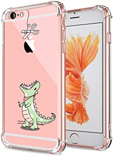 iPhone 6S Case Cute, Clear with Design Funny Dinosaur Cartoon Pattern Print Protective Case for iPhone 6 6S 4.7 Inch, Flexible Gel Rubber Shock Absorption Transparent Slim Fit Back Cover for Teens