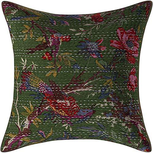 Funda de almohada cuadrada de algodón hecha a mano con estampado de pájaros verdes de la India (1)