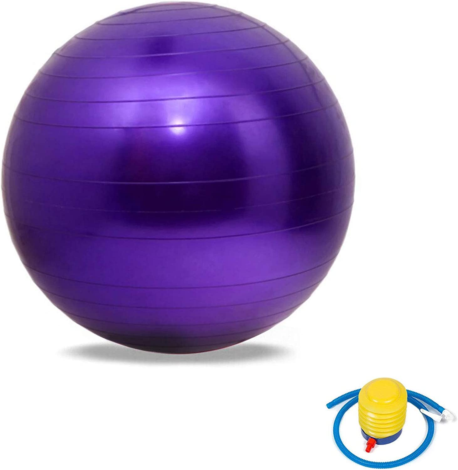 Swiss Exercise Ball Anti Burst Yoga Gym Ball Extra Thick Gymnastics Ball,Ball Chair, Birthing Ball with Improved Hand Pump for Fitness, Gym, Yoga, Pilates  Suitable for Men & Woman