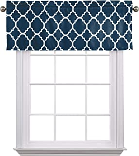 """Flamingo P Moroccan Valance Curtain Extra Wide and Short Window Treatment for for Kitchen Living Dining Room Bathroom Kids Girl Baby Nursery Bedroom (Navy - 52"""" x 18"""")"""