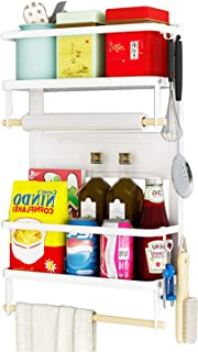 Magnetic Spice Rack,4 Tier Kitchen Magnetic Shelf for Refrigerator with 2 Paper Towel Holders and 5 Removable Hooks,Matte White