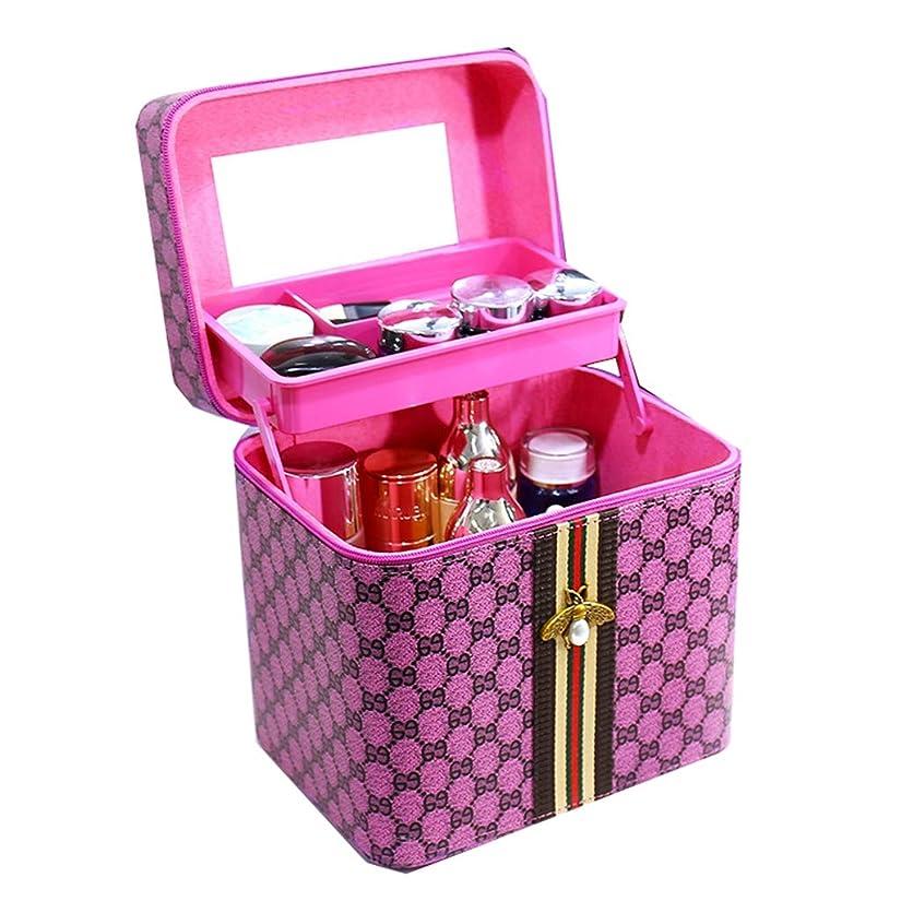 メイクボックス ガールズ 化粧ボックス おしゃれ 化粧ケース コスメ収納ボックス 洗面用具入れ ミラー付き 少女 大容量 収納バッグ 小物整理 大容量 洗顔用品 出張用 旅行用 プレゼント 桃色-2段タイプ