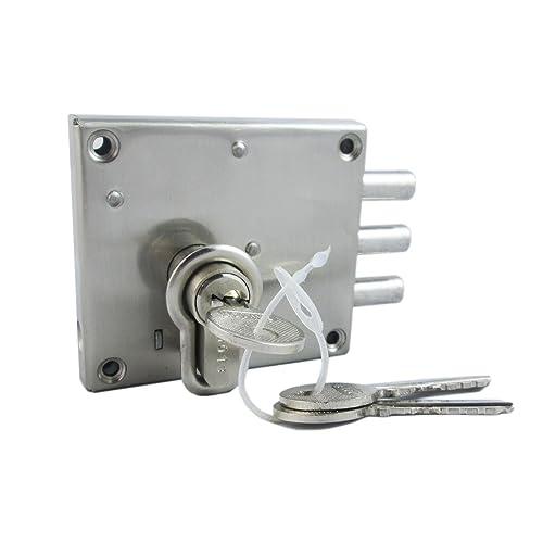 Ramson Iron Slit N Fit Steel Finish Bullet Door Inter Lock with Knob Cyl Key Mechanism