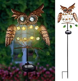 TOPNEW Garden Solar Lights Stake, Metal Owl Solar Led Light Outdoor - Decorative Landscape Lights Waterproof for Pathway, Walkway, Patio, Lawn and Yard