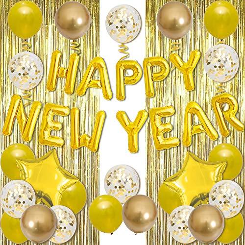 新年飾り付け ゴールドHAPPY NEW YEAR風船 レインカーテン お正月 年越しパーティー飾り メタルバルーン スター お店 新年会 イベント装飾