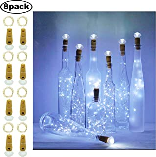 Decem Diamond Wine Bottle Lights, 8 Pack 20 LEDs Waterproof Cool White Silver Cork Shaped Fairy String Lights Night LED Lamp for Wedding, Party, Christmas, Garden, Home Decor