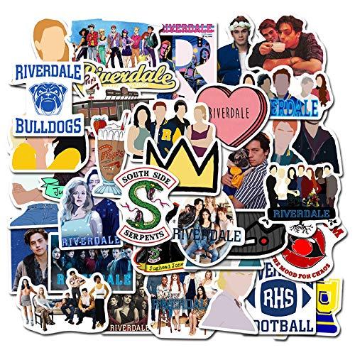 SIMUR 50 Piezas Riverdale TV Show Funny Stickers Pack Fans Anime Vintage Paster Cosplay Scrapbooking DIY Pegatina teléfono portátil Impermeable,Regalo Interesante para Coche